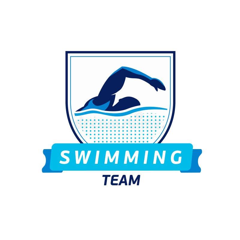 Vektorschwimmteamlogo Schwimmerschattenbild im Wasser Kreativer Ausweis Triathlonkonzept Flaches Design lizenzfreie abbildung