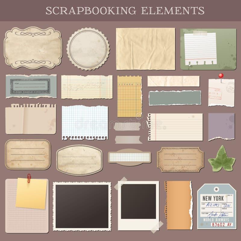 VektorScrapbooking beståndsdelar stock illustrationer