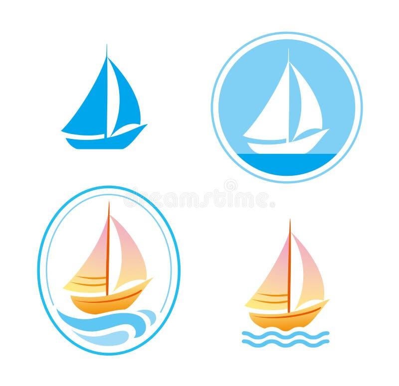 Vektorsegelbåtemblem vektor illustrationer