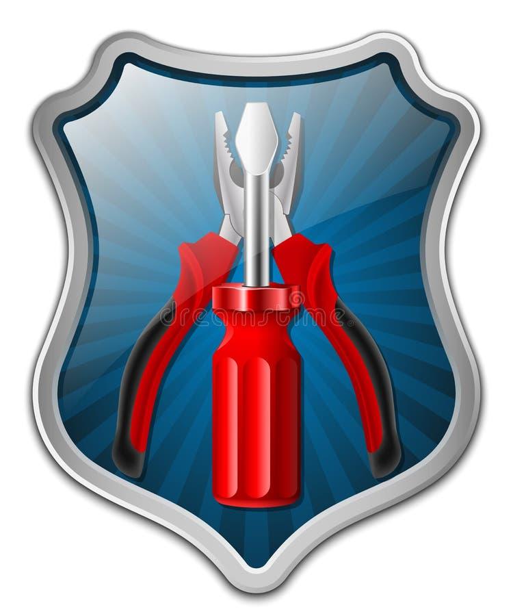Vektorservice-Ikone - Schild mit Schraubenzieher und Zangen stock abbildung