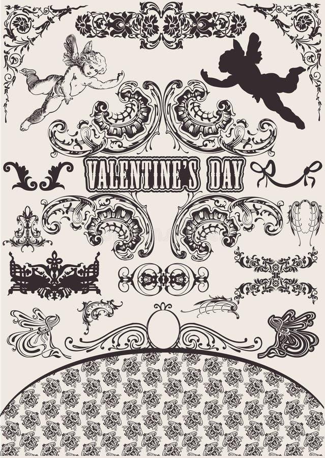 Vektorset. Auslegung-Elemente des Valentinsgrußes. lizenzfreie abbildung