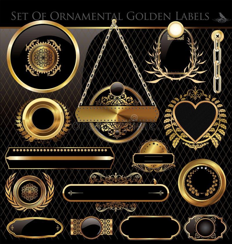 Vektorset av black- och guldetiketter vektor illustrationer