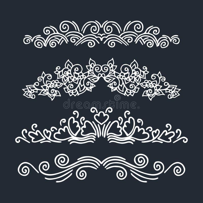 Vektorset av calligraphic designelement stock illustrationer