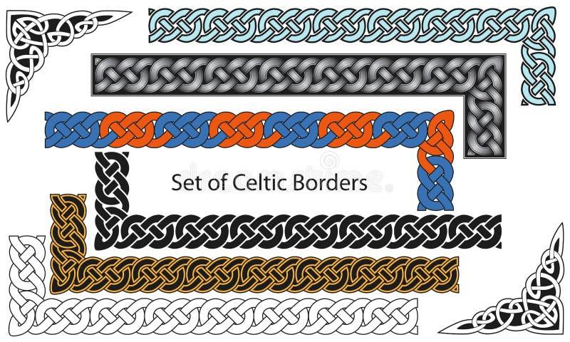 Vektorset av Celtic stilkanter stock illustrationer
