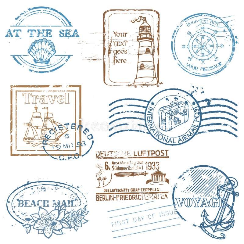 VektorSet av Retro HAVSstämplar stock illustrationer