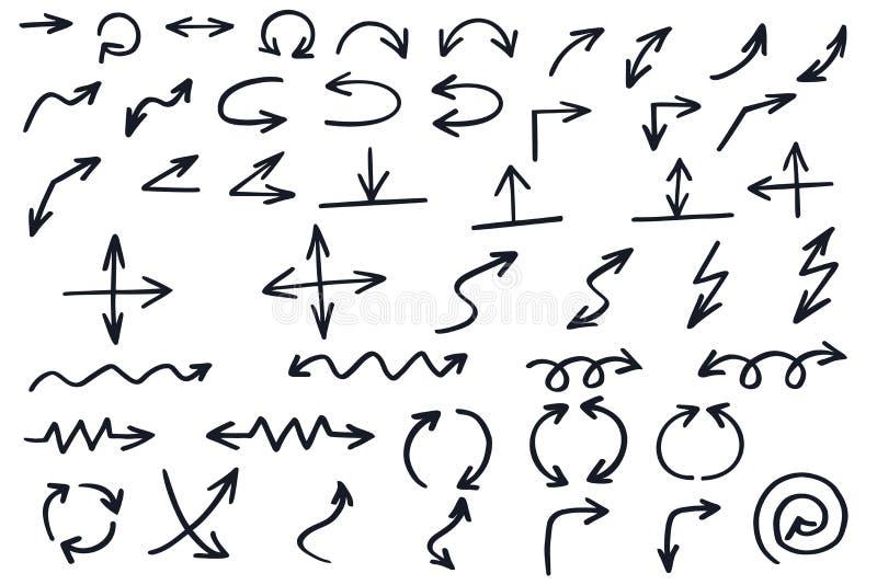 Vektorset des Pfeiles Schwarze Nadelanzeige Abstrakter Cursor lizenzfreie abbildung