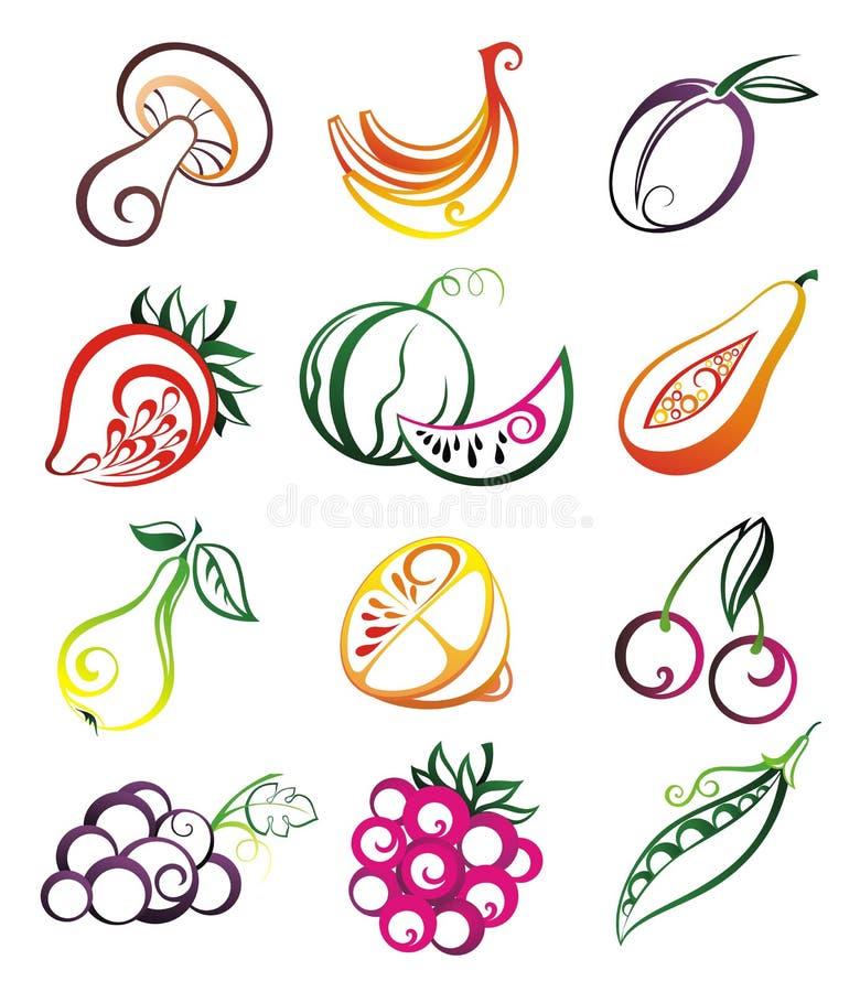 Vektorset frische Früchte, Gemüse und Beeren stock abbildung