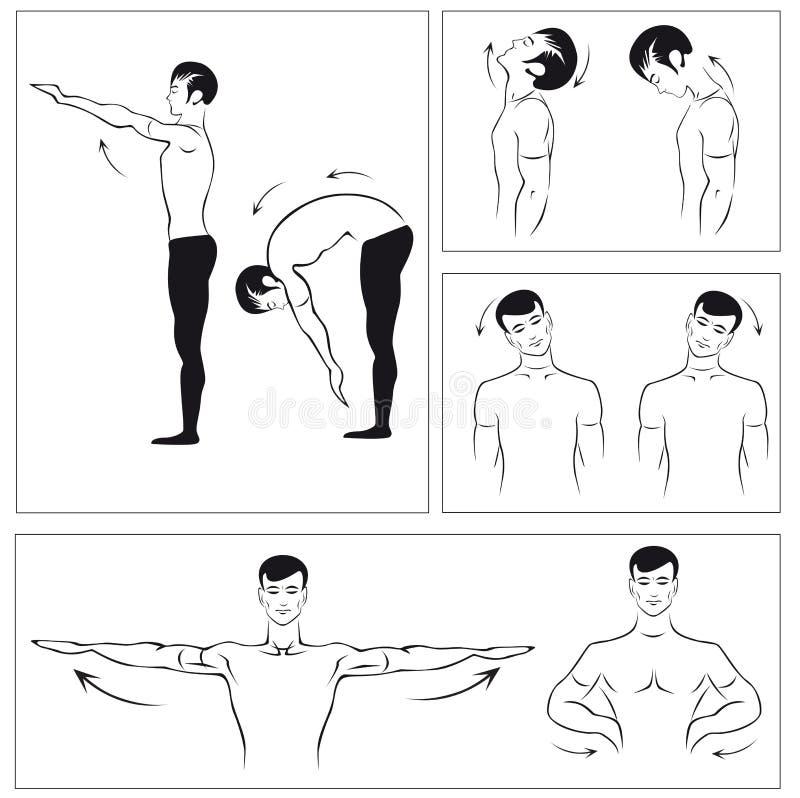 Vektorset körperliche Übungen, zum sich der Drehbeschleunigung zu entspannen stock abbildung