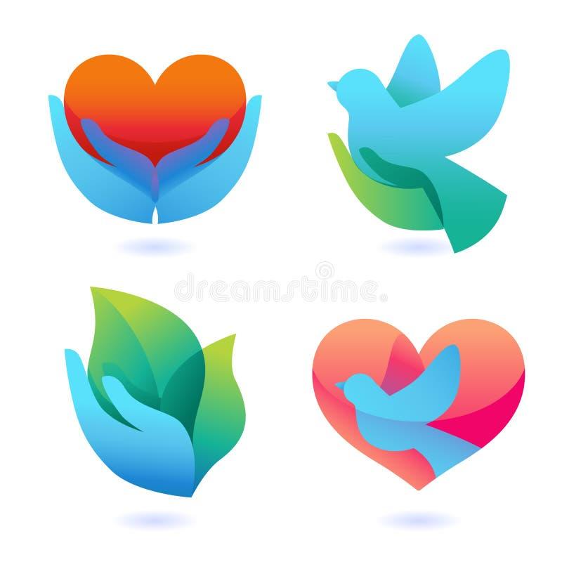 Vektorset med tecken av förälskelse och omsorg vektor illustrationer