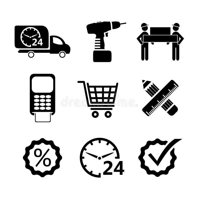 Vektorshoppingsymboler i svart stock illustrationer