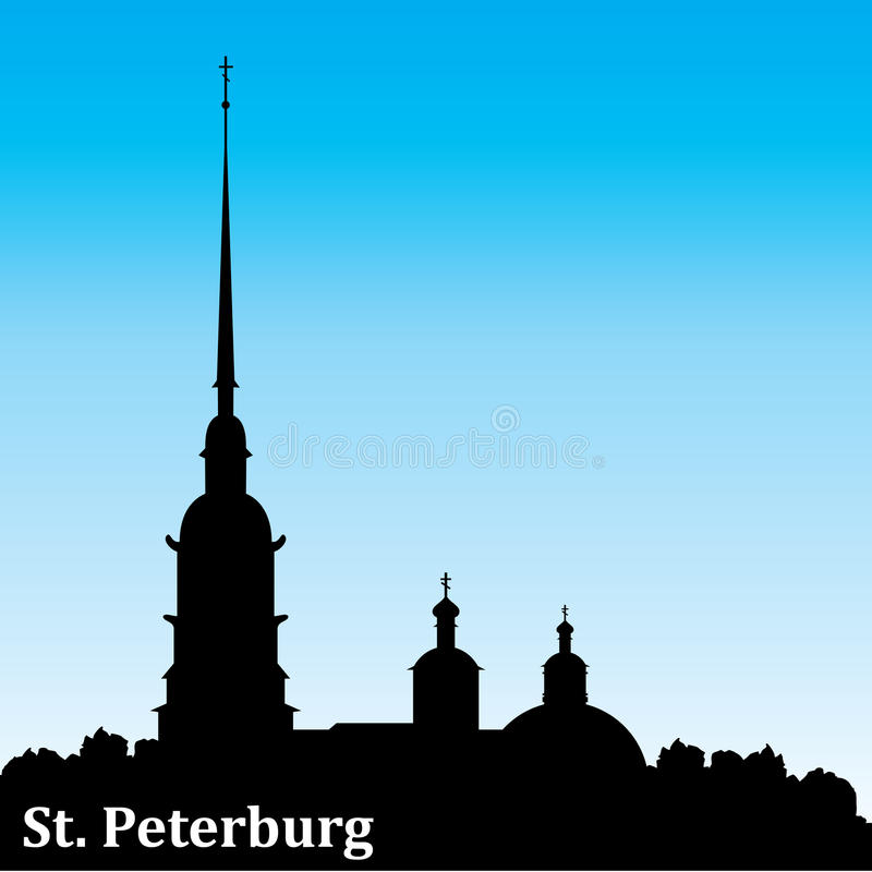 Petersburg silhouette royaltyfri illustrationer