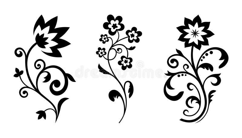 Vektorsilhouettes av abstrakt tappningblommor royaltyfri illustrationer