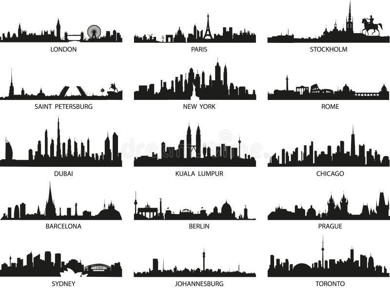 Vektorsilhouettes av stadshorisonterna vektor illustrationer