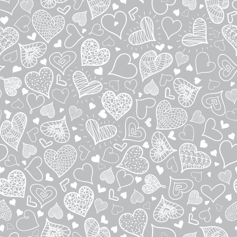VektorsilverGrey Doodle Hearts Seamless Pattern design som är perfekt för dagkort för valentin s, tyg som scrapbooking stock illustrationer