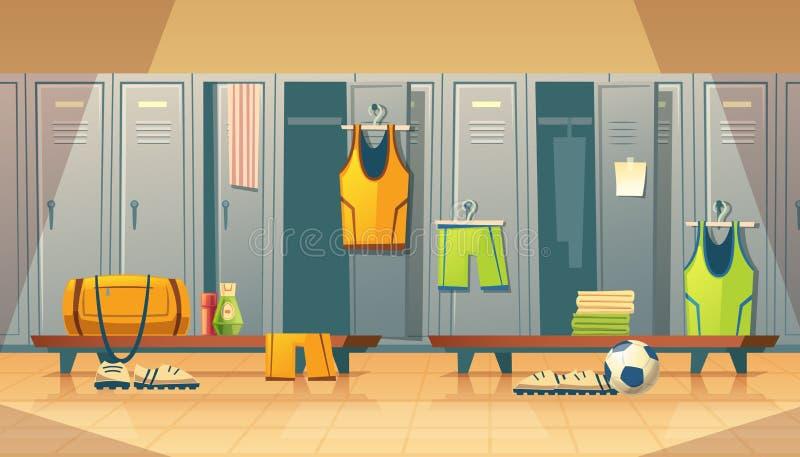 Vektorskåp, ändrande rum för sportar, idrottshall stock illustrationer