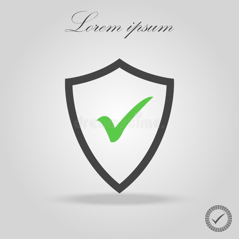 Vektorsköld och checkmarksymbol Säkerhet skydd Högvärdig kvalitets- grafisk design Tecken översiktssymbolsymboler för websites, w royaltyfri illustrationer