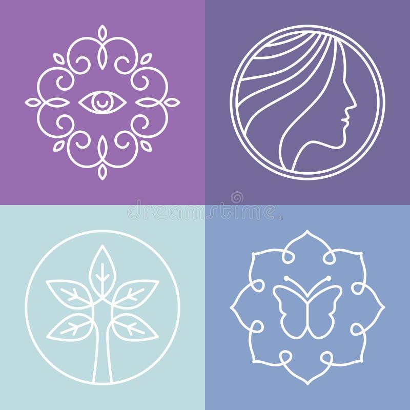 Vektorskönhet och brunnsortlinje logoer stock illustrationer