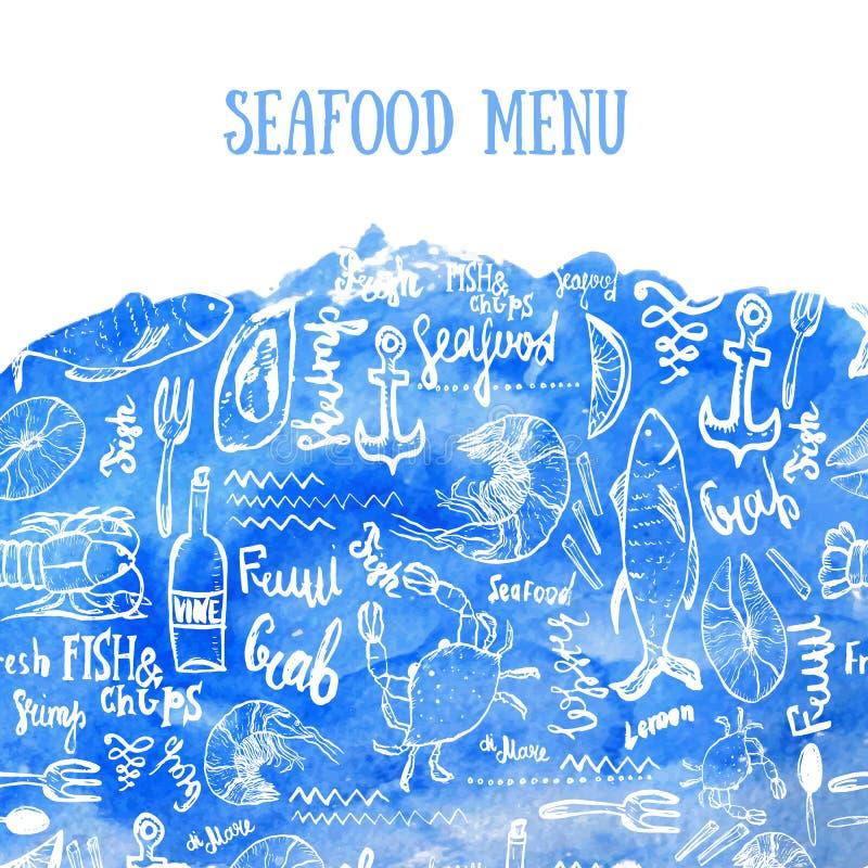 Vektorskaldjurbakgrund Havs- bakgrund för vektor på blå vattenfärg i modern stil för menydesign som slår in vektor illustrationer