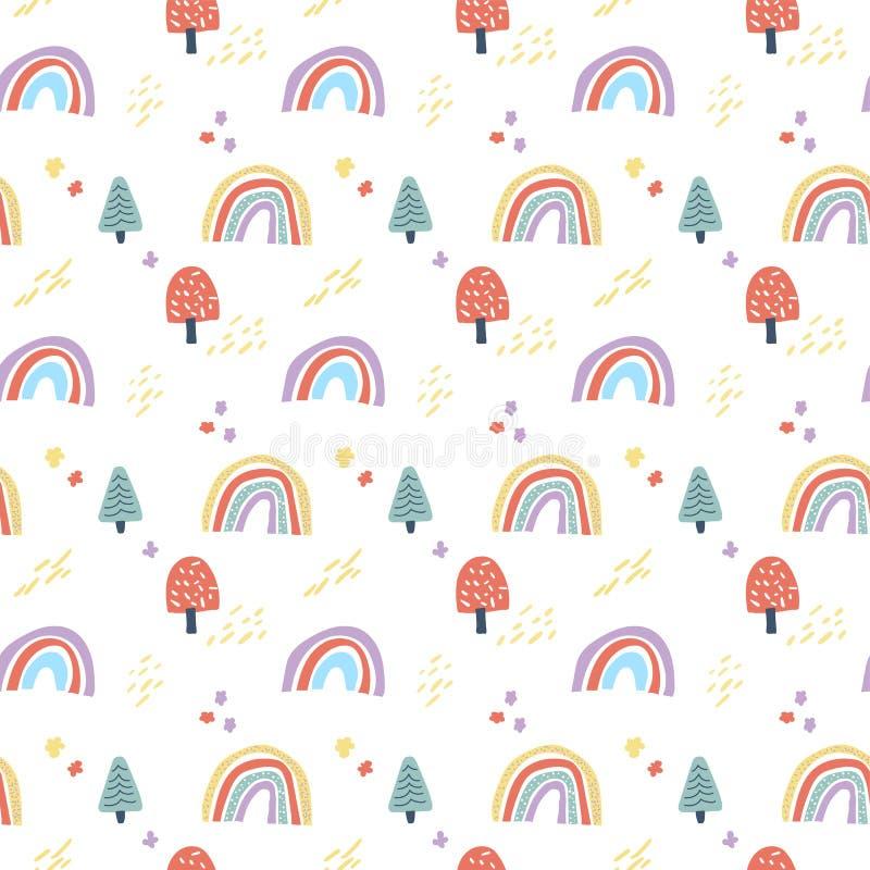 Vektorskandinaviska sömlösa moln, regn, sol och regnbåge Ljud av enkel dockningsbakgrund för barnrum royaltyfri illustrationer