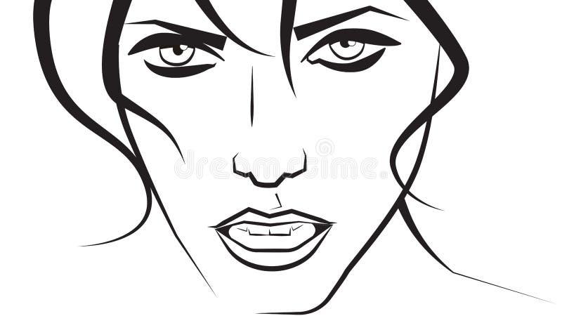 Vektorskizze eines Gesichtes der recht jungen Frau auf einem weißen Hintergrund lizenzfreie abbildung