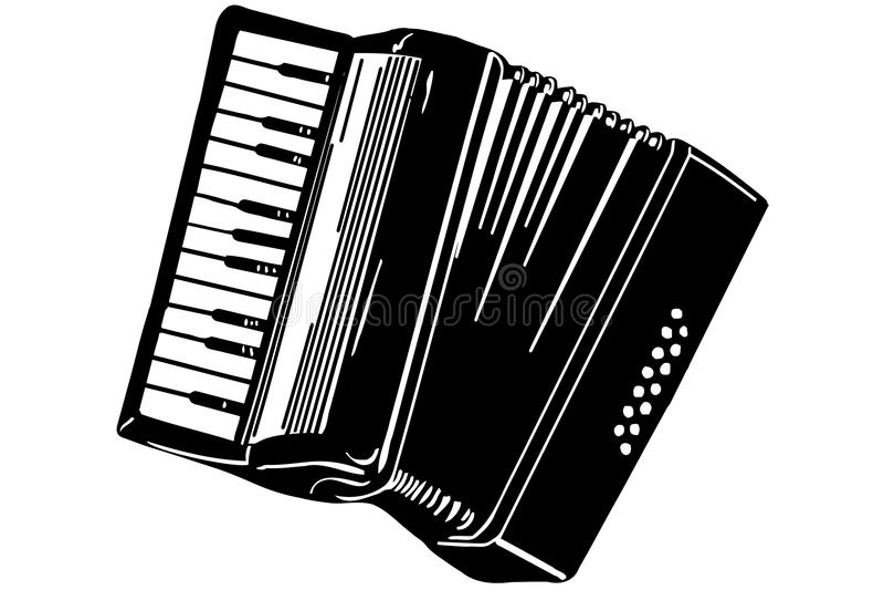 Vektorskizze eines Musikinstrumentakkordeons stock abbildung