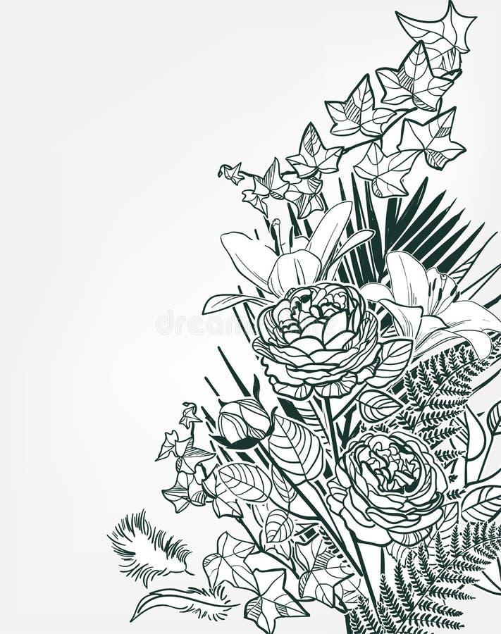 Vektorskizzenblumenhintergrund-Kartenrahmenmonochrom stock abbildung
