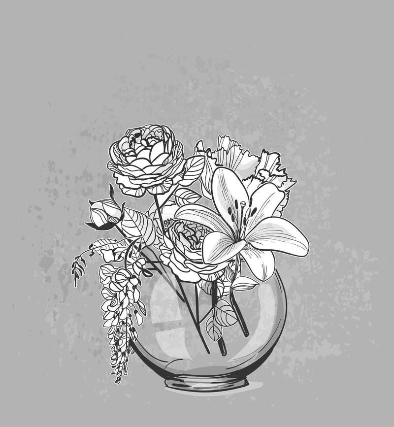 Vektorskizzenblumenhintergrundkarten-Vasenglas lizenzfreie abbildung