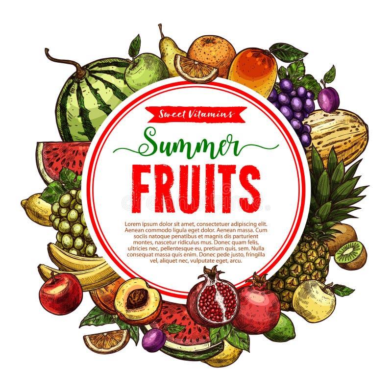 Vektorskizzenfrucht-Speicherplakat des Bauernhofes trägt Früchte vektor abbildung