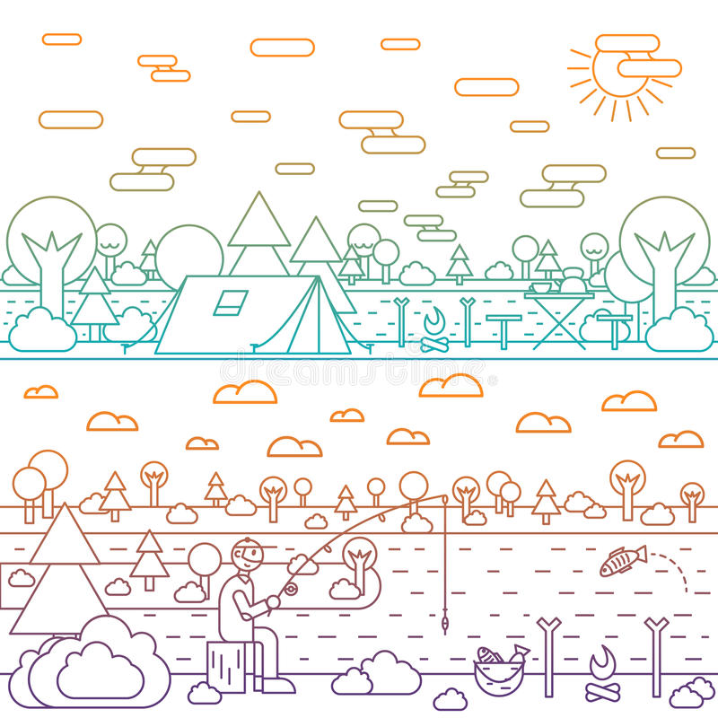 Vektorskog- och flodillustration i linjärt stock illustrationer