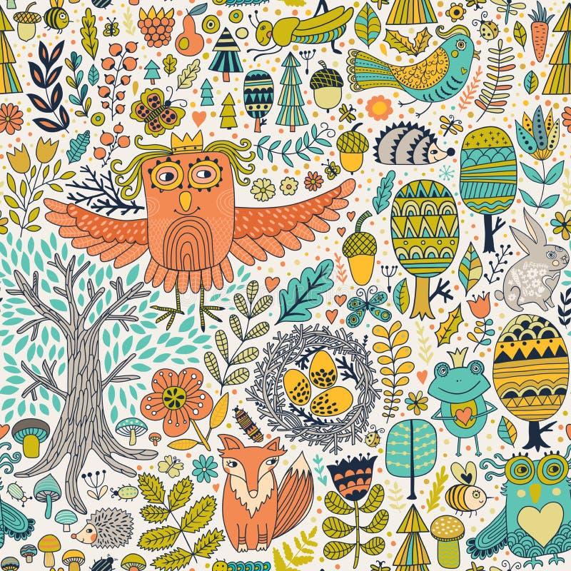 Vektorskogdesign, blom- sömlös modell med skogdjur: groda räv, uggla, kanin, igelkott royaltyfri illustrationer
