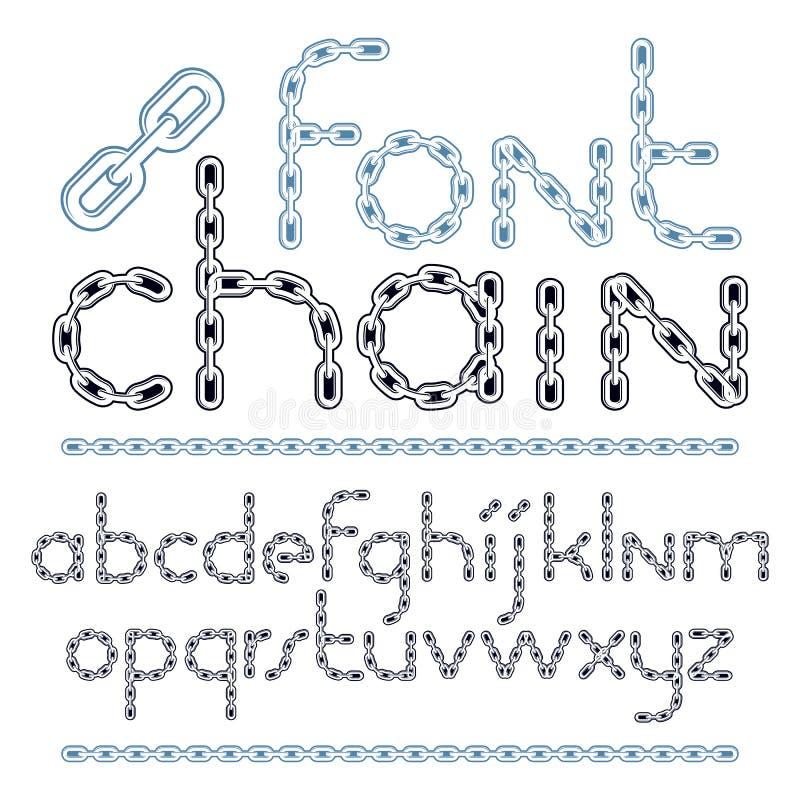 Vektorskrift, modern alfabetbokstavsupps?ttning Liten idérik stilsort som göras med järnkedjan stock illustrationer