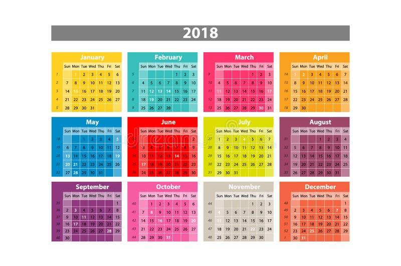 Vektorskrivbordkalender 2018 För skrivbordkalender för enkel färgrik lutning minsta elegant mall i vit bakgrund stock illustrationer