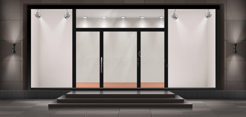 Vektorskyltfönster, tom upplyst visningslokal royaltyfri illustrationer