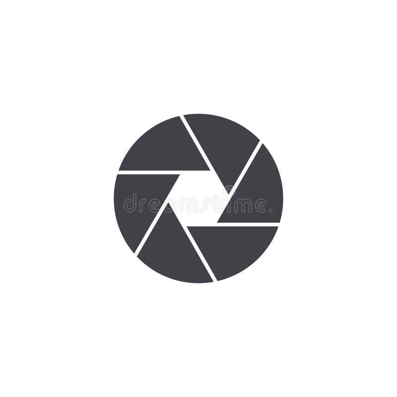 Vektorslutaresymbol Isolerat kamerasymbol Manöverenhetsknapp Beståndsdel för app eller website för design mobil stock illustrationer