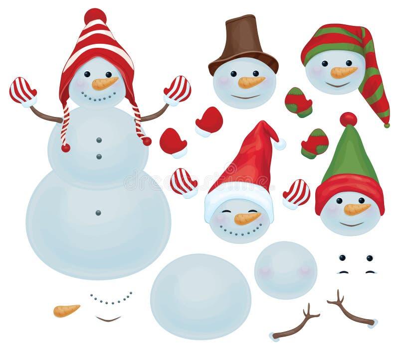 Vektorsnögubbemallen, gör för att äga snögubben, snögubbe kan ändra f royaltyfri illustrationer
