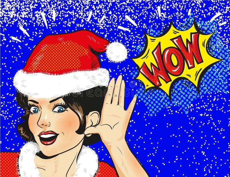 Vektorsnöjungfrun förvånade framsidacloseupen i snö, illustration för kvinna för vinter för jul för stil för popkonst komisk royaltyfri illustrationer