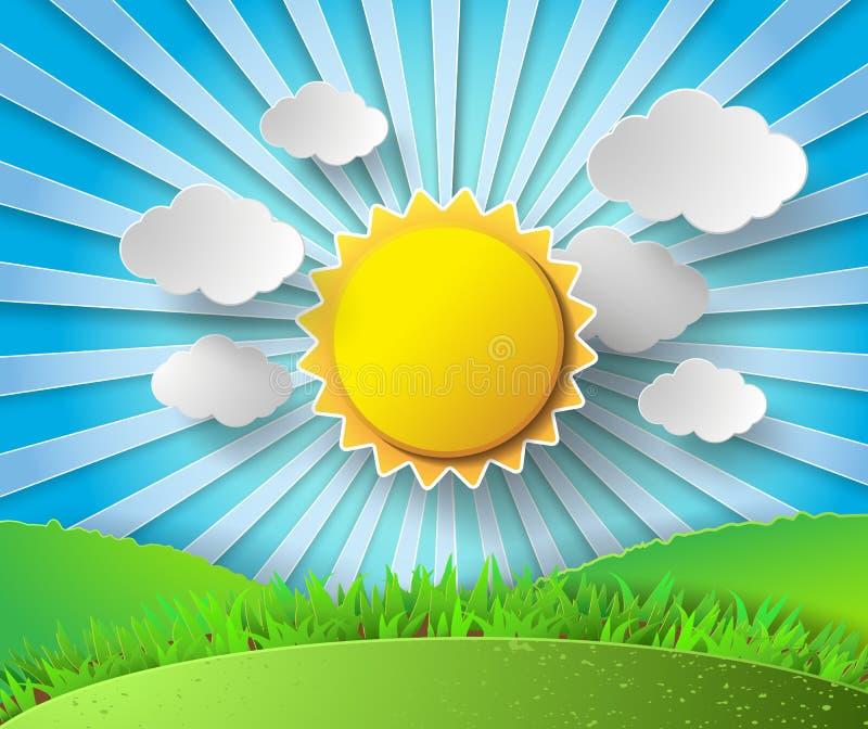 Vektorsol med molnbakgrund stock illustrationer