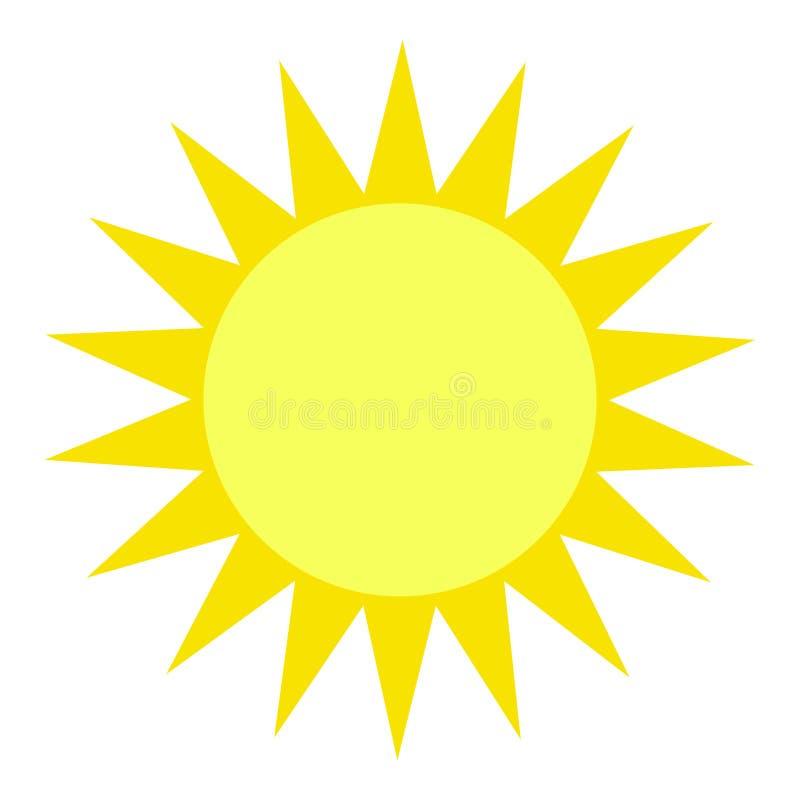 Vektorsolillustration, idérik gul symbol för designen för varmt eller varmt väder, ljus sunburst royaltyfri illustrationer