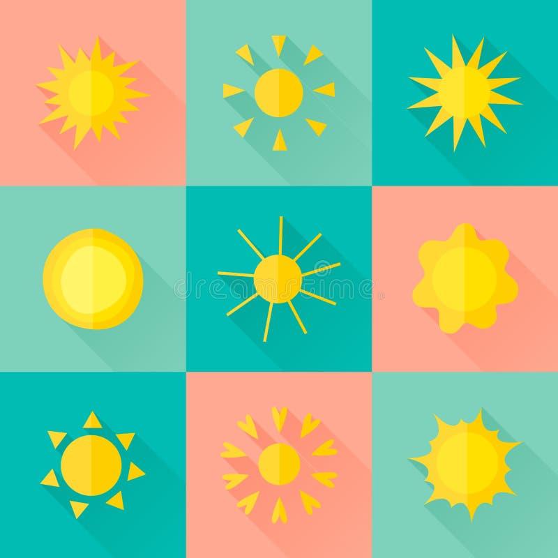 Vektorsolsymboler av olika former i den plana stilen vektor illustrationer