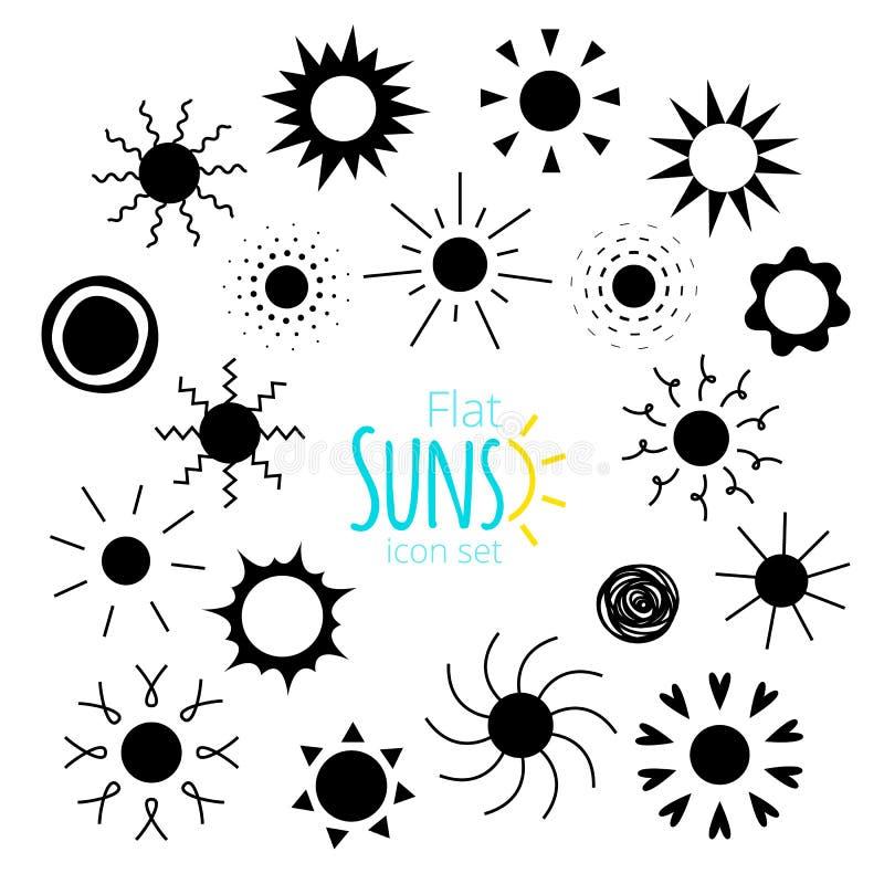 Vektorsolsymboler av olika former i den plana stilen stock illustrationer