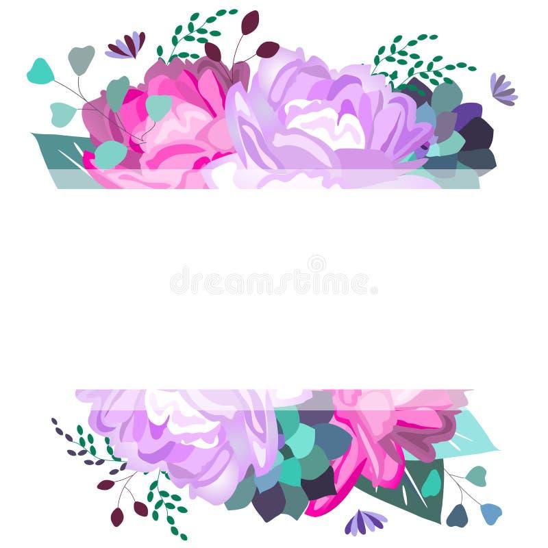 Vektorsommar, vårram, mall med pions, blommor, suckulenter, sidor, lövverk Moderiktig, romantisk, elegant mjuk design isolate stock illustrationer