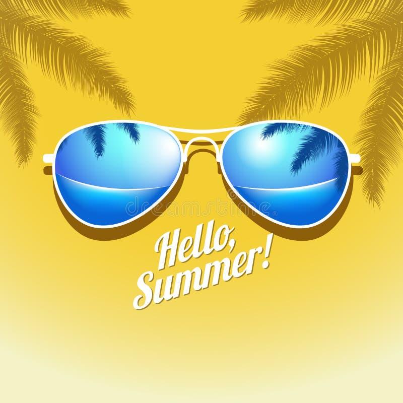 Vektorsommaraffischen med solglasögon gömma i handflatan stock illustrationer