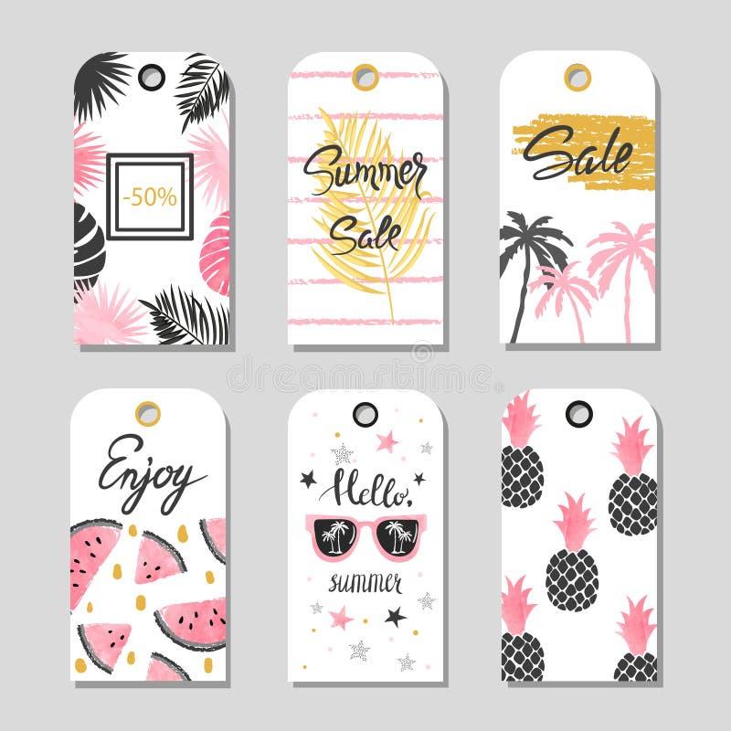 Vektorsommaruppsättning av försäljnings- och gåvaetiketter, etiketter med tropiska beståndsdelar royaltyfri illustrationer