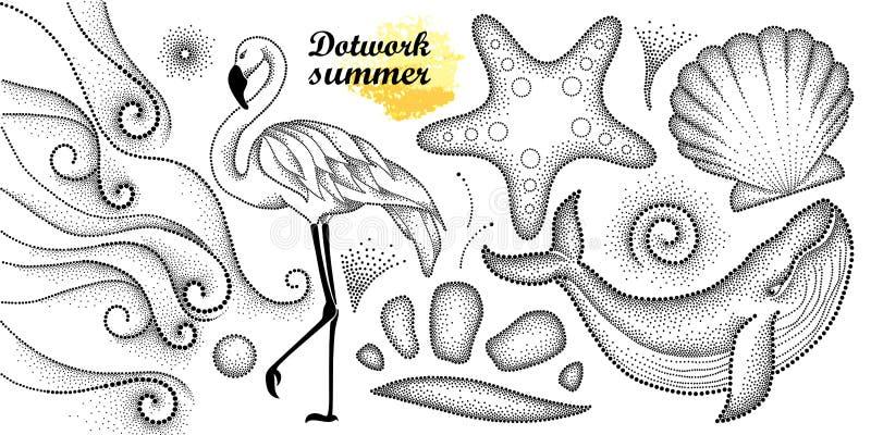 Vektorsommaruppsättning i dotworkstil Prickigt val, flamingo, vågor, snäckskal, sjöstjärna, kiselsten, virvel i svart som isolera vektor illustrationer