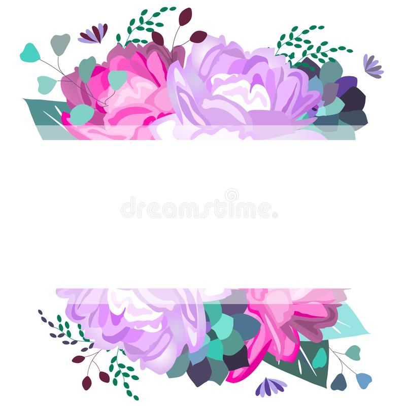 Vektorsommer, Frühlingsrahmen, Schablone mit Pions, Blumen, Succulents, Blätter, Laub Modischer, romantischer, eleganter, weicher stock abbildung