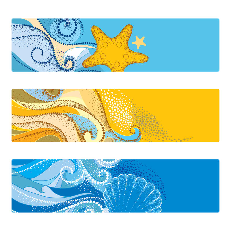 Vektorsommer stellte mit horizontaler Fahne in dotwork Art ein Die Zusammenfassung, die punktiert wird, bewegt, Muschel, Starfish stock abbildung