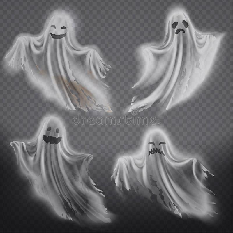 Vektorspökar, fantomuppsättning Spöklika andar för allhelgonaafton royaltyfri illustrationer