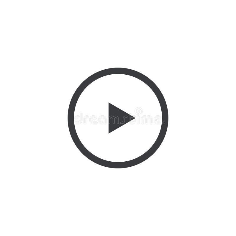 Vektorspielikone lokalisiert auf weißem Hintergrund Entwurfselement für Entwurf beweglichen App, Website oder Musikspieler Einfac stock abbildung