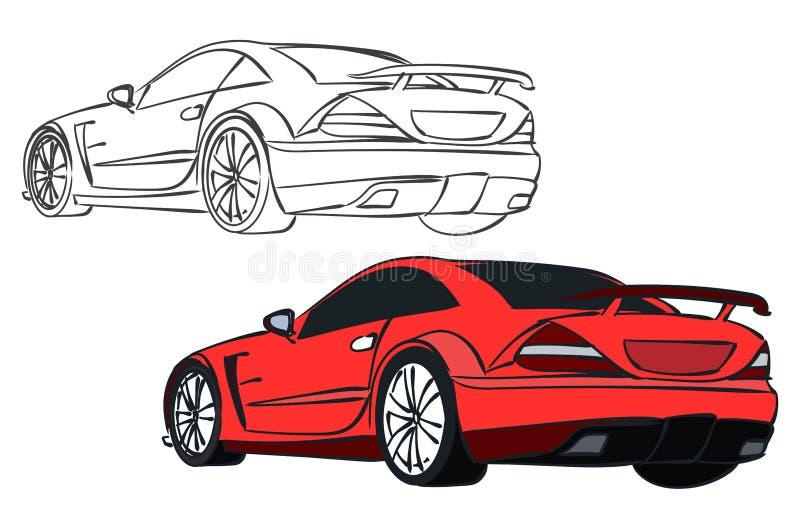 Vektorsportbil stock illustrationer