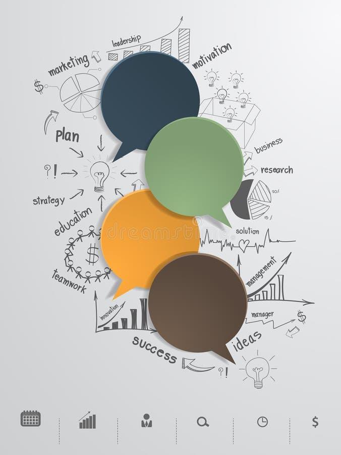 Vektorspracheblase mit kreativem Zeichnungsgeschäft stock abbildung